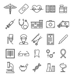 medical healthcare black thin line icon set vector image