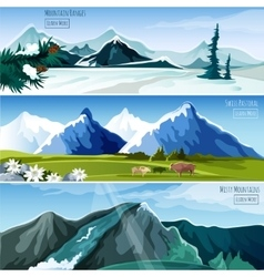 Mountain Landscapes Banner Set vector image