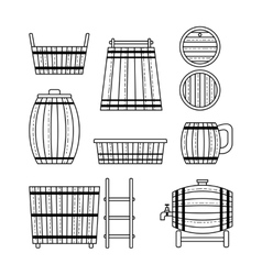 Set barrel mug wooden tub and products Flat vector image vector image