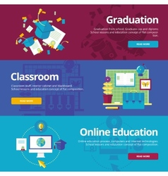 Set of flat design concepts for graduation vector image