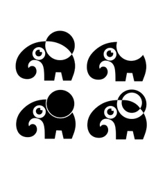 set of four elephant isolated vector image vector image