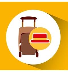 travel tourist hat concept suitcase vector image