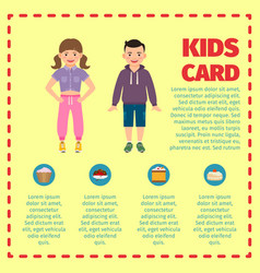 yellow kids card infographic template l vector image vector image