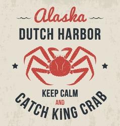Alaska t shirt with king crab vector