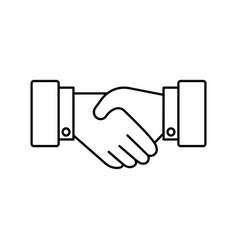 handshake line icon partnership and agreement vector image vector image