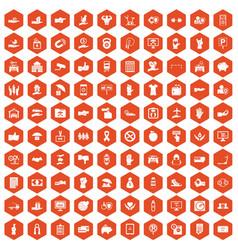 100 hand icons hexagon orange vector image