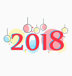 2018 new years background in memphis style vector image