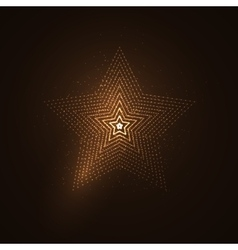 3D illuminated star shape of glowing particles vector