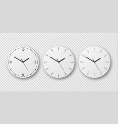 3d realistic white wall office clock dial vector