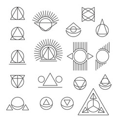 Abstract geometric tattoo set on white background vector