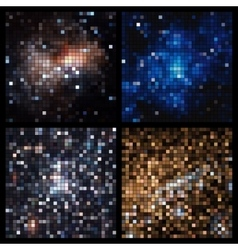 abstract square pixel mosaic vector image