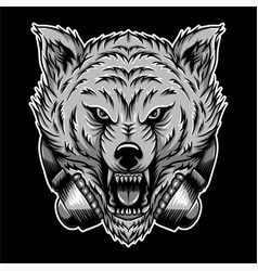 angry wolf headphone vector image