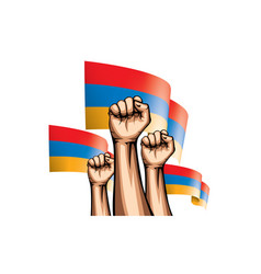 Armenia flag and hand on white background vector