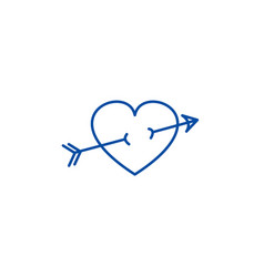 arrow in heart line icon concept arrow in heart vector image