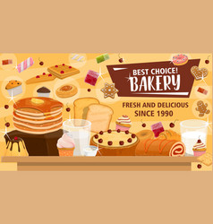 Bakery banner for pastry products or confectionery vector