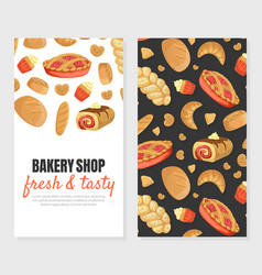 Bakery shop fresh and tasty card template with vector