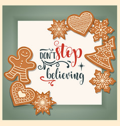 beautiful christmas card with gingerbread vector image