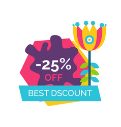 best discount 25 off promo sticker cartoon flower vector image
