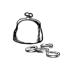 Big purse with coins sketch icon vector