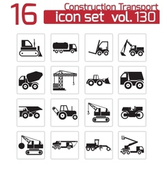 black construction transport icons set vector image