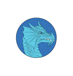 blue dragon head angry circle drawing vector image