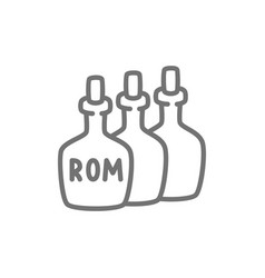 bottles of rum alcohol drink container line icon vector image