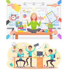 Calm woman and stressed man at office work set vector