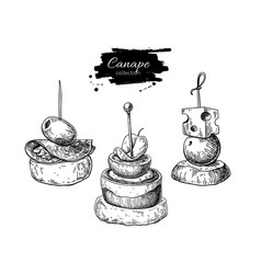 Canape drawings food appetizer and snack vector