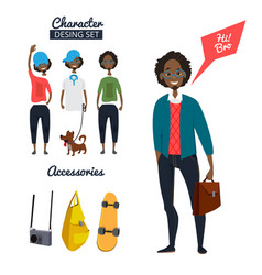 Cartoon character of male hipster in casual style vector