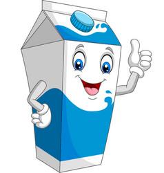 cartoon milk box giving thumb up vector image