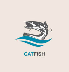 Catfish and wave icon vector