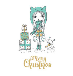 christmas a little girl and a cute dog merry vector image
