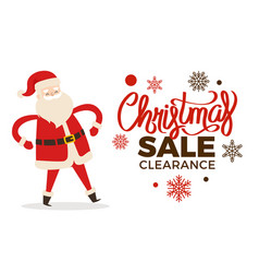 Christmas clearance sale poster with merry santa vector