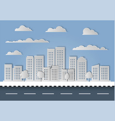 City town paper cut on white background vector