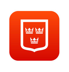 coat of arms of sweden icon digital red vector image