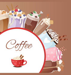 coffee cups different dessert sorts and hot vector image