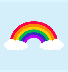 color rainbow with clouds in blue sky vector image