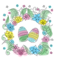 colorful easter card with patterned eggs and vector image