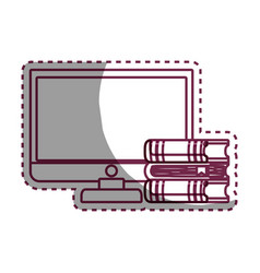 Computer desktop with ebooks isolated icon vector