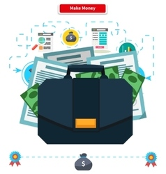 Concept Make money Briefcase with Income vector