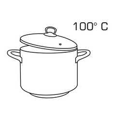 cooking pot line outline icon 100 degree celsius vector image