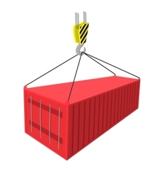 Crane lifts a red container with cargo icon vector