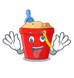 Crazy beach bucket in string shape mascot vector