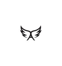 creative black wings a letter alphabet logo vector image
