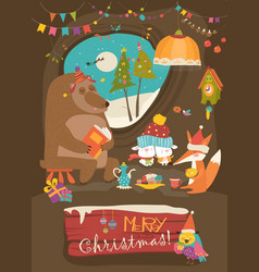 Cute animals celebrating christmas in den vector