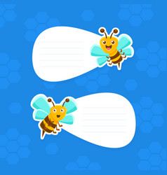 cute bees holding white empty signboarda with vector image