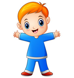 cute little boy cartoon in blue shirt vector image
