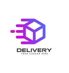 delivery box logo design courier logo design vector image
