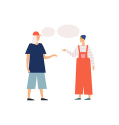Dialogue two young modern cartoon people vector