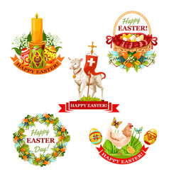 Easter holiday symbol and label set vector